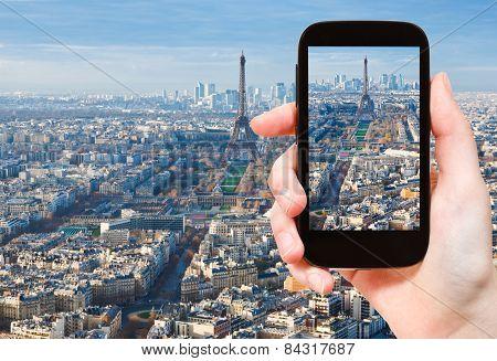 Taking Photo Paris Skyline With Eiffel Tower