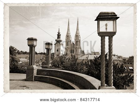 Vintage Photo Panoramic Zagreb