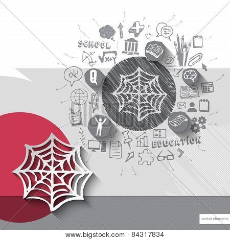 Paper and hand drawn net emblem with icons background