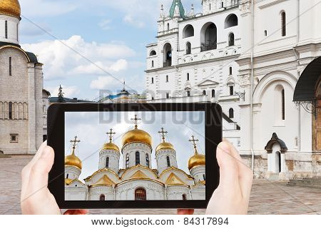 Tourist Taking Photo Of Cathedral Square, Moscow