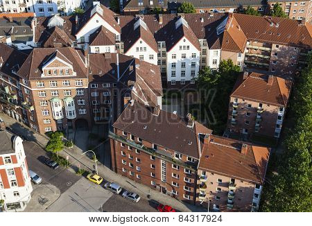 Residential Buildings From High Angle, Hamburg