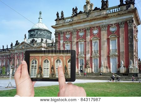 Tourist Taking Photo Of New Palace In Potsdam