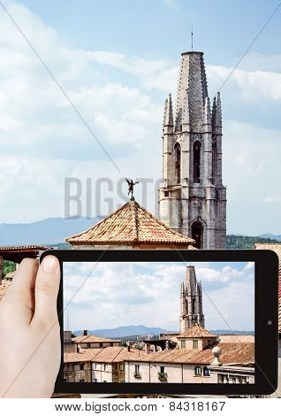 Taking Photo Of Collegiate Church Of Sant Feliu
