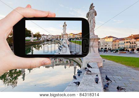 Tourist Taking Photo Of Prato Della Valle In Padua