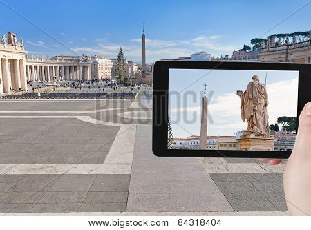 Tourist Taking Photo Of Obelisk On St.peter Square