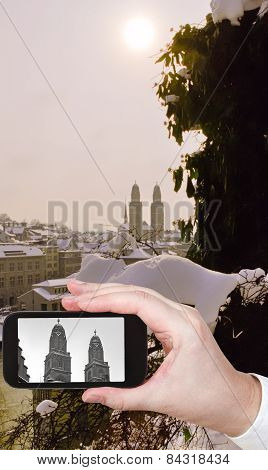 Photo Of Zurich City With Towers Of Grossmunster Church