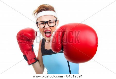 Boxer - Fitness Woman Boxing Wearing Boxing Gloves, Focus On Face