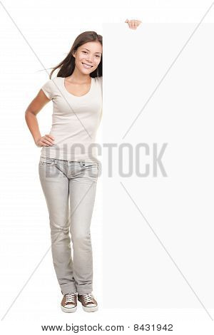 Billboard Banner Woman Standing