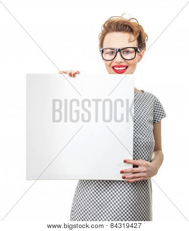 Smile Female Holding Empty White Board, Isolated On White