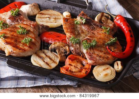 Grilled Steak With Mushrooms And Peppers On Grill. Horizontal