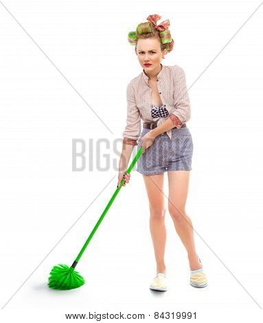 Funny Angry Or Unhappy Housewife / Girl With Broom, Isolated On White. Full Length / Total Shot Of D