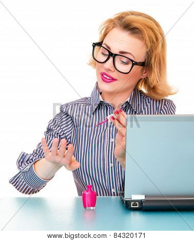 Business Woman Having A Manicure And Painting Her Nails On Work, Isolated On White