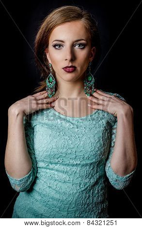 Pretty Woman Posing In Elegant Mint Green Fashion