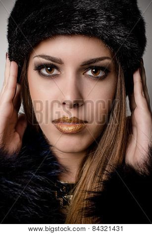 Gorgeous Woman With Make Up In Winter Fashion