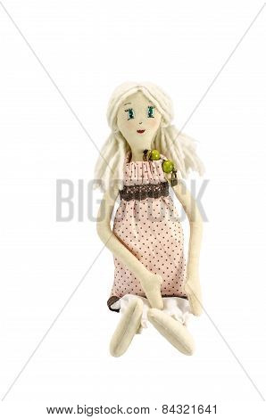 Doll with blond hair isolated on white
