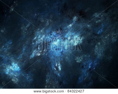 Blue Glowing Nebula In Deep Space