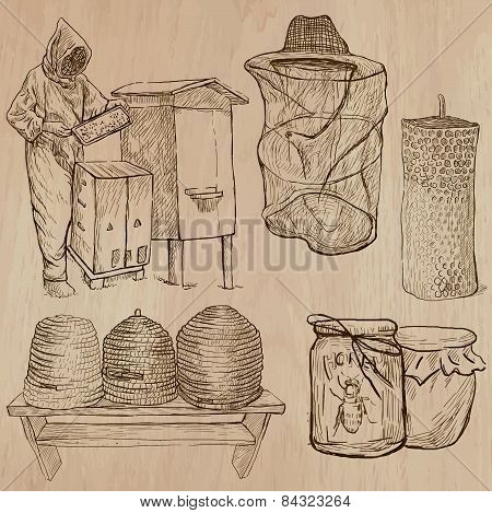 Bees, Beekeeping And Honey - Hand Drawn Vector Pack 10