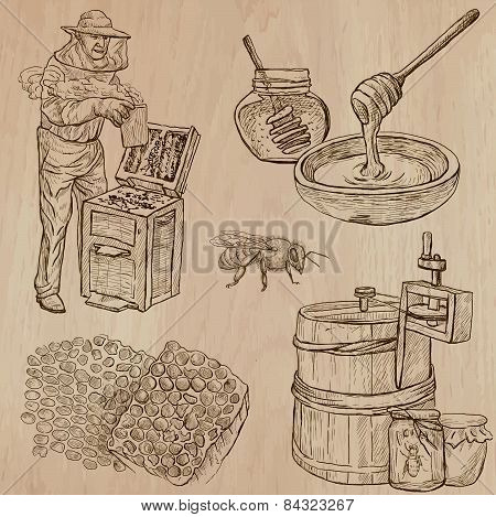 Bees, Beekeeping And Honey - Hand Drawn Vector Pack 11
