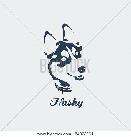 Vector Siberian Husky With Collar. Blue Silhouette Card.