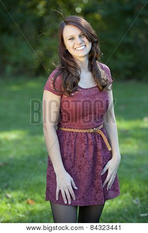 young brunette girl posing