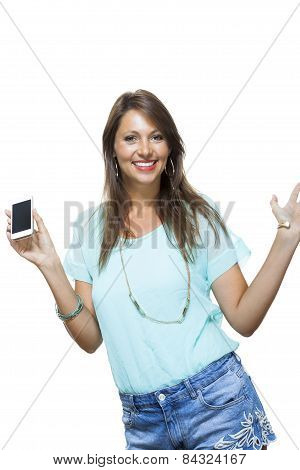 Pretty Happy Woman Holding A Mobile Phone