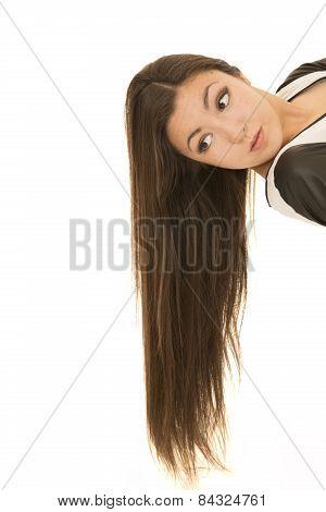 Cute Asian American Teen Laying Down Hair Flowing