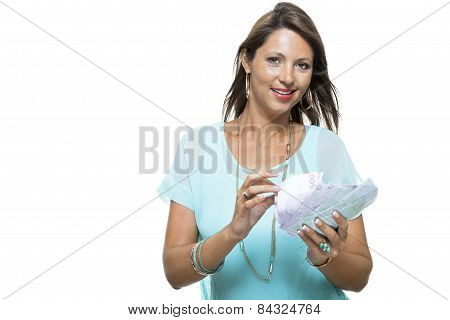 Close Up Smiling Pretty Girl Holding Cash