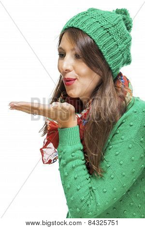 Romantic Young Woman Blowing A Kiss