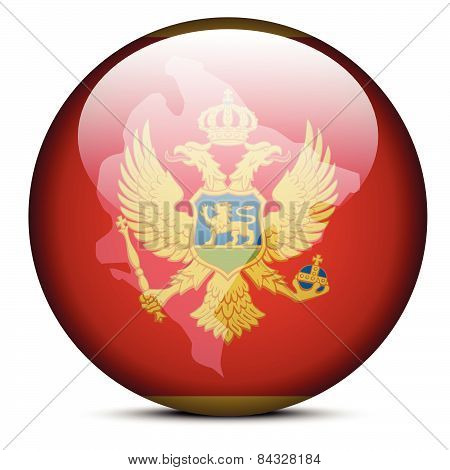 Map On Flag Button Of Montenegro
