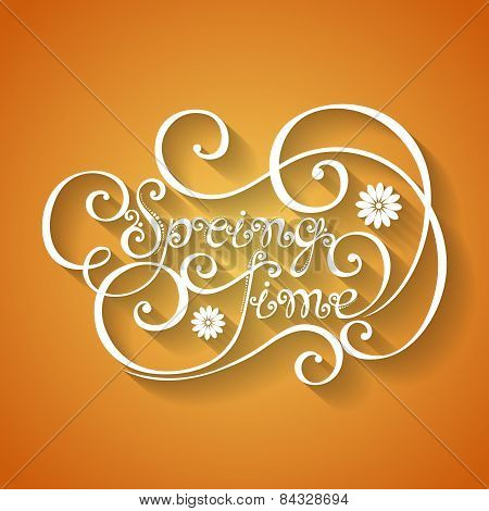 Vector Name of Season of the Year, Spring Time Inscription