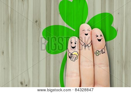 Conceptual Finger Art. Friends Are Embracing And Drinking Beer. Stock Image