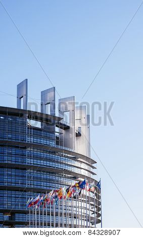 European Parliament On A Clear Day With All Eu Flags