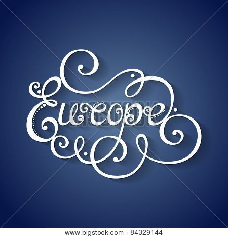 Vector Name of Continent, Europe Inscription