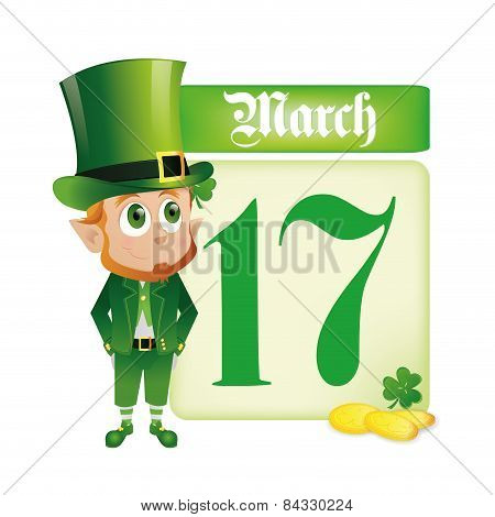 an isolated irish elf with a calendar and some golden coins for patrick's day