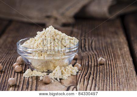 Chick Pea Flour On Dark Rustic Background