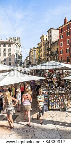 People Visit The Street Markets In Verona