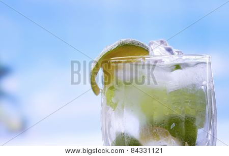 Mojito cocktail drink with leaf of mint