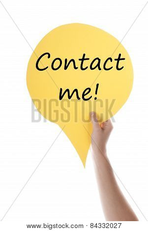 Yellow Speech Balloon With Contact Me