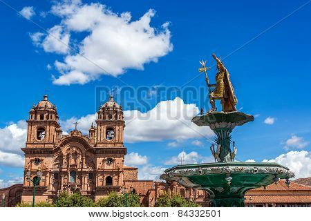 Church And Fountain In Cusco, Peru
