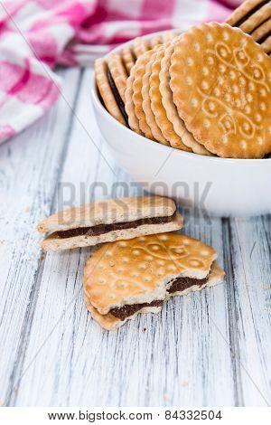 Portion Of Chocolate Cream Cookies