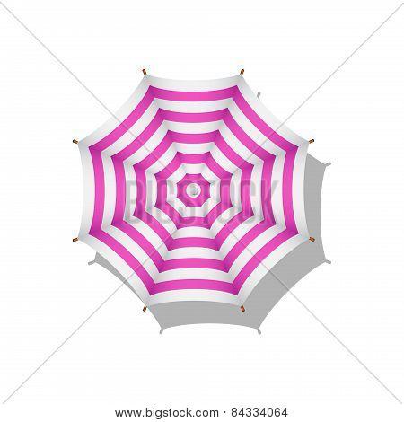 Pink and white striped beach umbrella