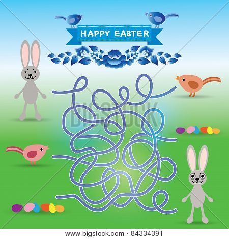 Happy Easter Set. Rabbit, Eggs, Bird. Labyrinth Game For Preschool Children. Vector