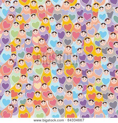 Seamless Pattern Pink, Purple, Orange, Blue Russian Dolls Matryoshka Background. Vector