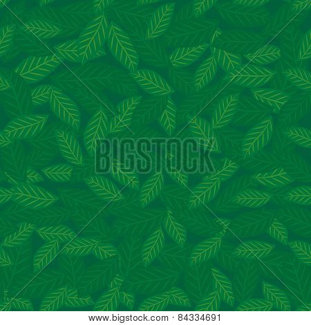Seamless Pattern With Leaves Green Background. Vector