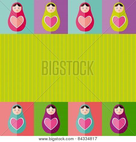 Russian Dolls Matryoshka With Heart.card Design. Vector