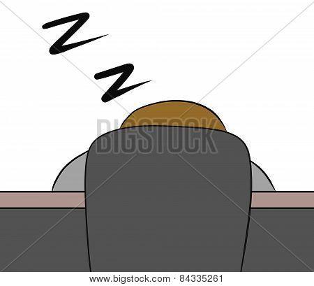 cartoon woman sit sleep