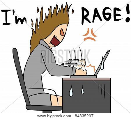 cartoon woman rage work