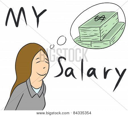cartoon woman money salary