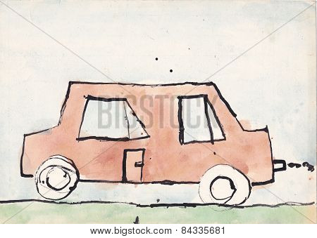 Child Picture Of Brown Car