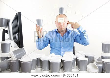 Businessman with coffee addiction
